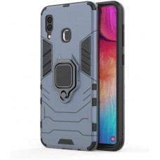 CHL Shock Proof Armor Kickstand Back Case Cover with Ring Holder For Samsung Galaxy A20 (Grey)