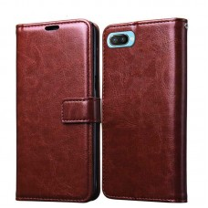 CHL Oppo A3S Wallet Case [PU Leather] [Soft TPU] [RFID Blocking] [Shock-Absorbent Bumper] [Card Slots] [Kickstand] [Magnetic Closure] Flip Cover for Oppo A3S – Brown