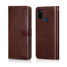 CHL Samsung Galaxy M30 Wallet Case [PU Leather] [Soft TPU] [RFID Blocking] [Shock-Absorbent Bumper] [Card Slots] [Kickstand] [Magnetic Closure] Flip Cover for Samsung Galaxy M30 – Brown