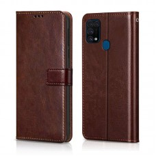 CHL Samsung Galaxy M31 Wallet Case [PU Leather] [Soft TPU] [RFID Blocking] [Shock-Absorbent Bumper] [Card Slots] [Kickstand] [Magnetic Closure] Flip Cover for Samsung Galaxy M31 – Brown