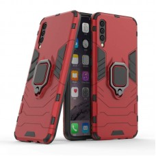 CHL Shock Proof Armor Kickstand Back Case Cover with Ring Holder For Samsung Galaxy A30s (Red)