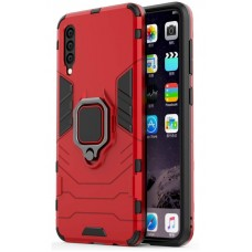 CHL Shock Proof Armor Kickstand Back Case Cover with Ring Holder For Samsung Galaxy A70s (Red)