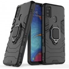 CHL Shock Proof Armor Kickstand Back Case Cover with Ring Holder For Samsung Galaxy M30s (Black)