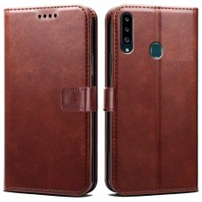 CHL Samsung Galaxy A20s Wallet Case [PU Leather] [Soft TPU] [RFID Blocking] [Shock-Absorbent Bumper] [Card Slots] [Kickstand] [Magnetic Closure] Flip Cover for Samsung Galaxy A20s – Brown